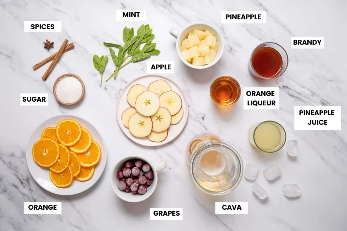 Ingredients for cava sangria recipe on white marble countertop