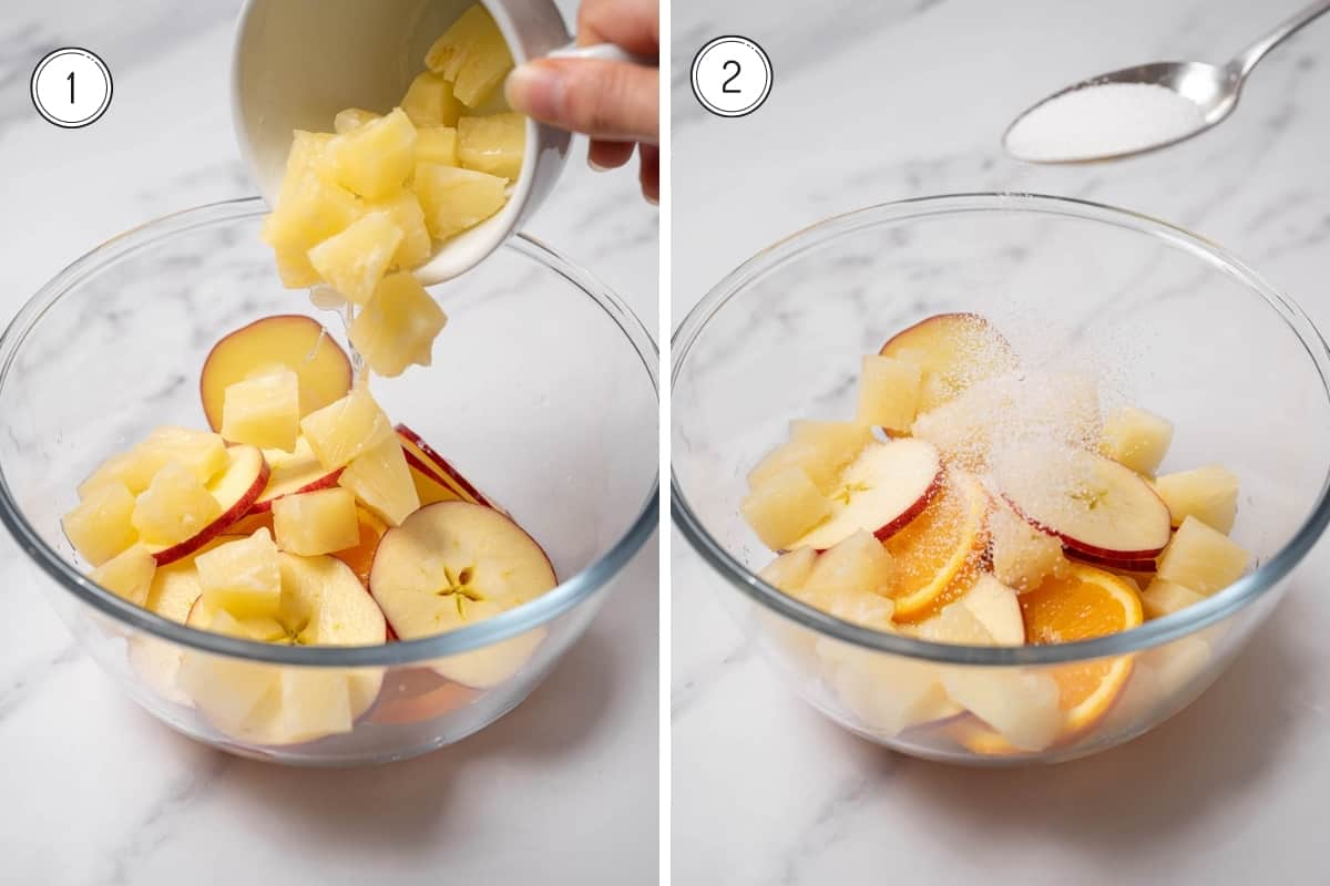 Steps 1-2 for making cava sangria in a grid. adding fruit to a glass bowl and sprinkling sugar on top.