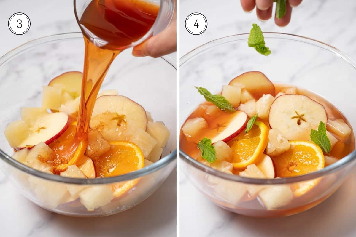 Cava sangria steps 3-4 in a grid. Adding brandy and mint to the bowl.