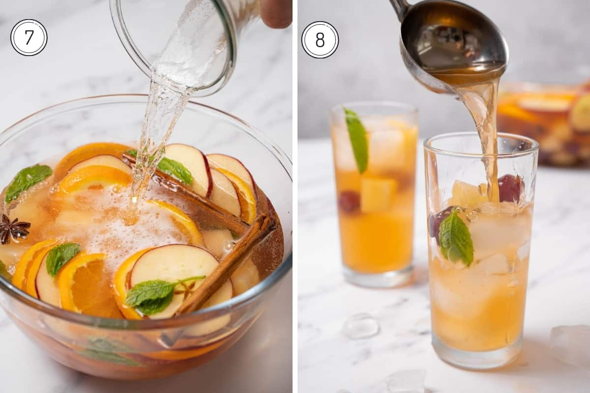 Steps 7-8 making cava sangria - adding the cava and pouring it into a glass