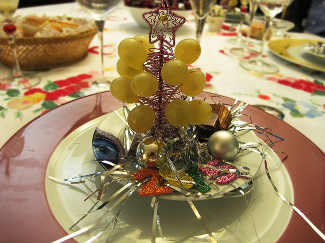 On New Year's Eve in Malaga it is tradition to eat 12 grapes as the clock strikes 12 for good luck. It's hard to do, but a fun tradition none the less!