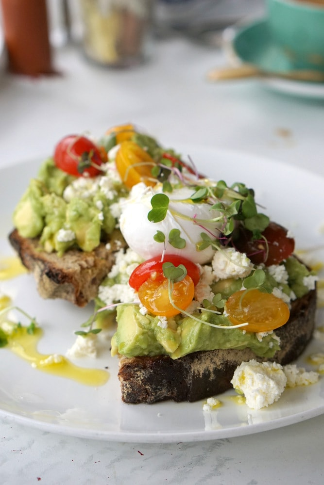Delicious avocado toast in NYC.