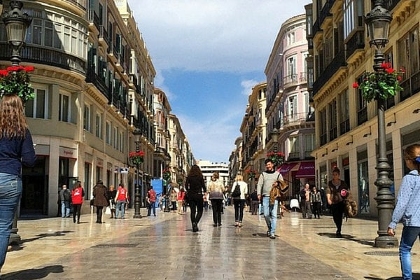 Calle Larios, the Main Shopping Street in Malaga. Another on our list of Where to Shop in Malaga