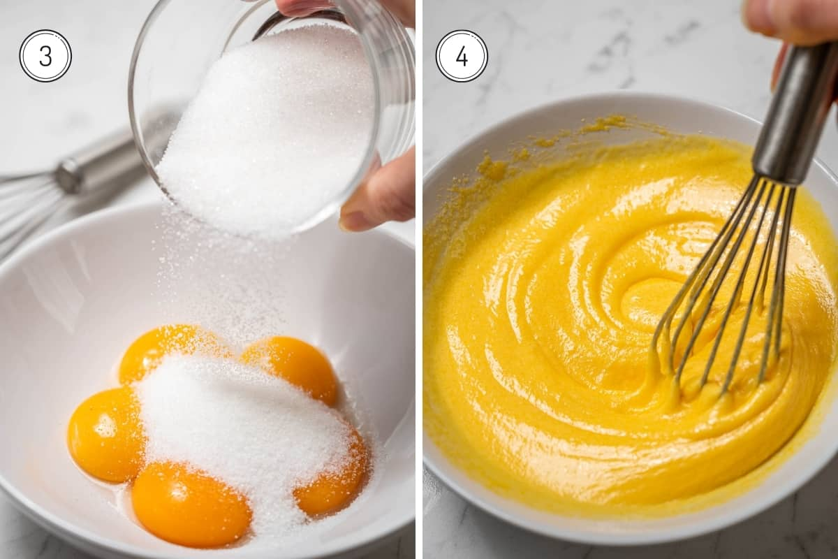 Crema Catalana steps 3-4 in a grid. Adding sugar to a bowl with egg yolks. Whisking the sugar and egg yolks together.