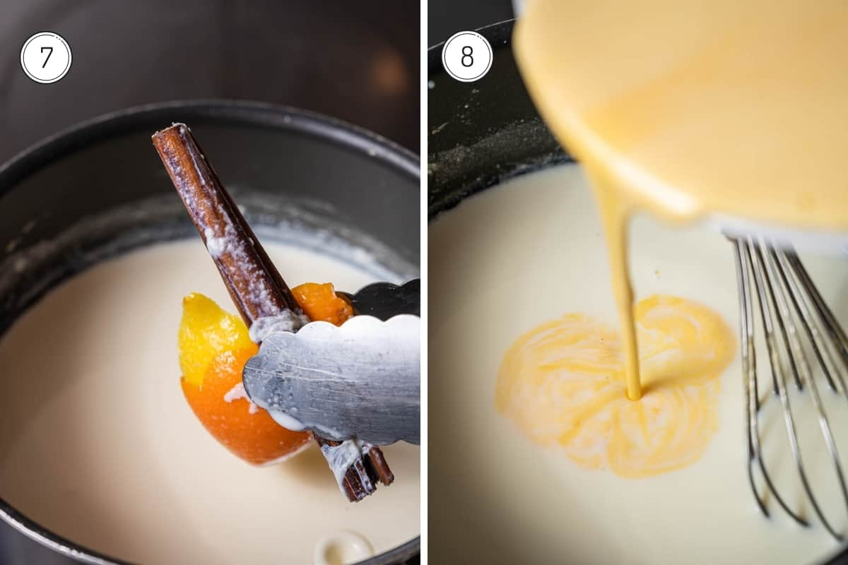 Steps 7-8 of making crema catalana. Removing cinnamon and citrus peel from pot of milk with tongs. Adding beaten egg mix to hot milk.