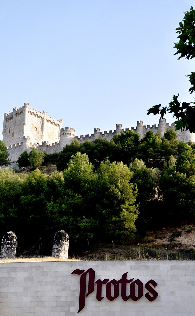 The Peñafiel castle stands guard over the cellars of the Protos winery, one of the most stunning wineries in Spain.