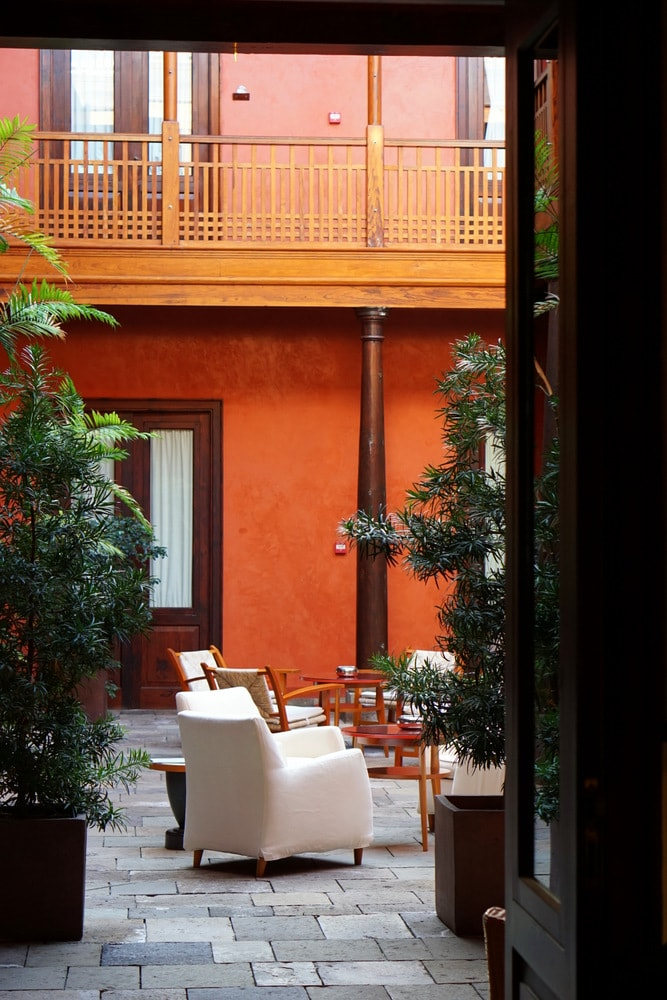 The gorgeous patio of Hotel San Roque.