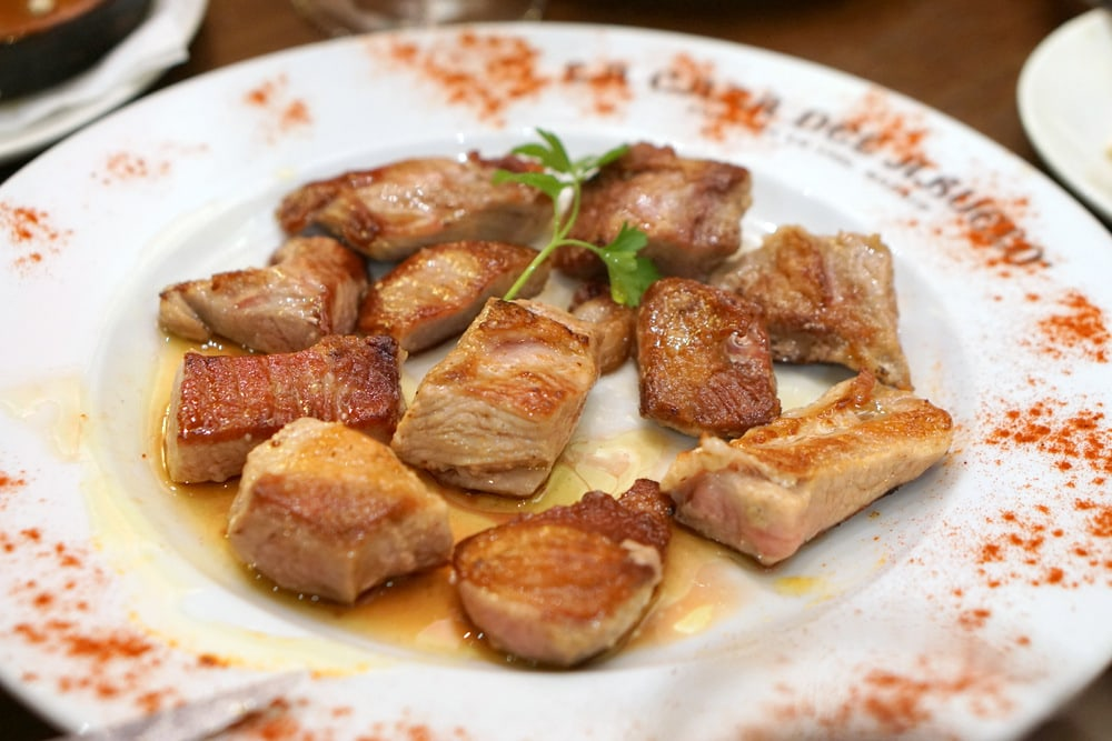 Secreto Ibérico-- one of the best cuts of Iberian pork. Melts in your mouth! Enjoyed on our tapas tour in Madrid!