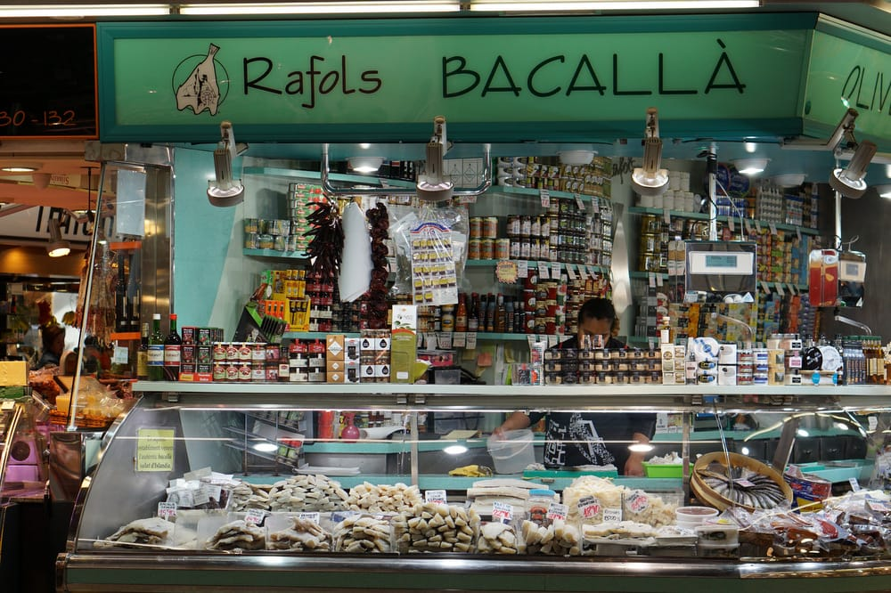 Salt cod in Barcelona, one of the typical foods in Barcelona.