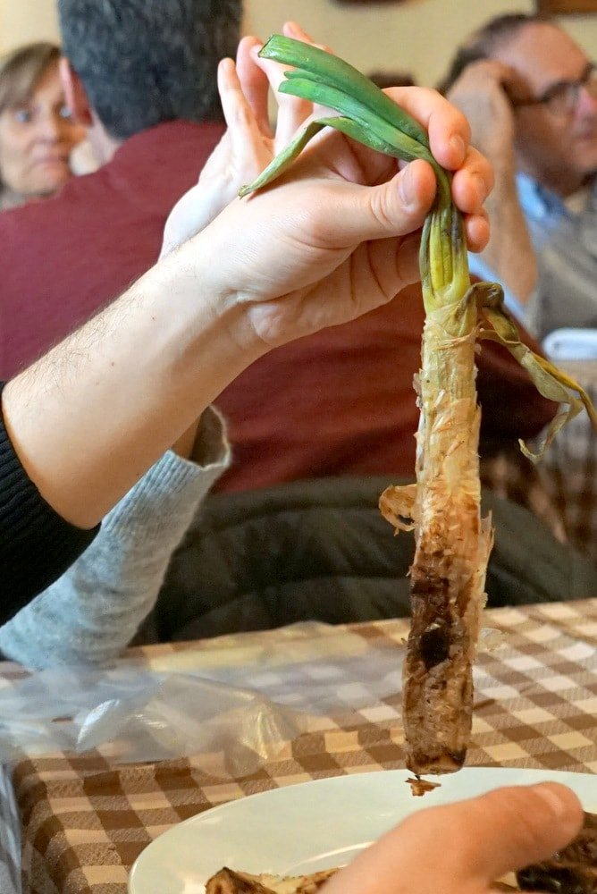 Eating calçots on a Barcelona tapas tour.