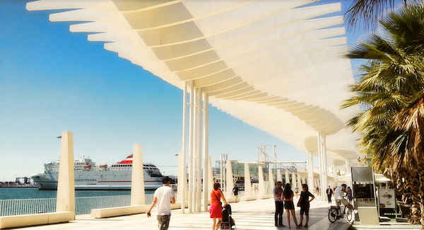 Taking a walk down by the harbor is one of the great free things to do in Malaga!