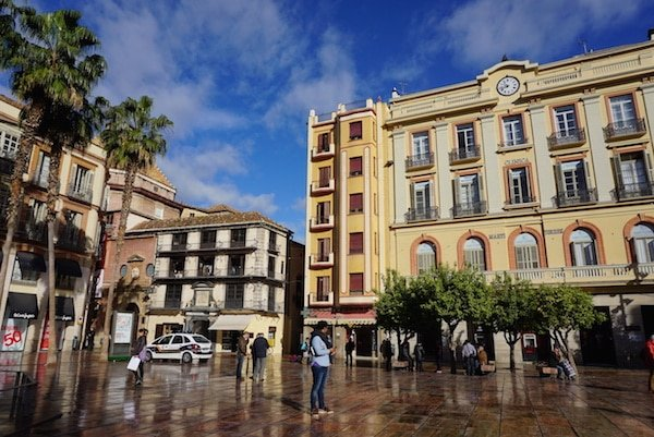 One of the things to see in Malaga is this square!, Plaza de la Constitución. You won't miss it—it's right in the middle of the city.