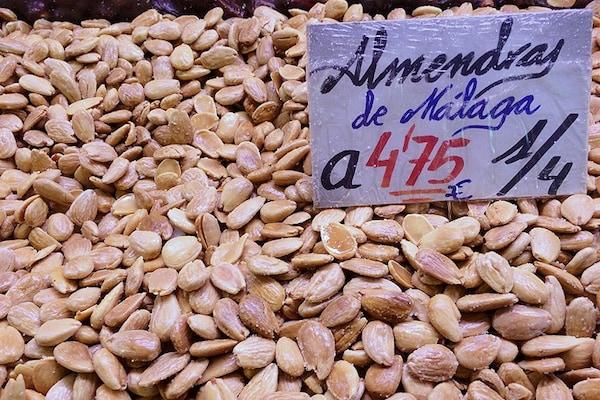 Almonds at a market in Malaga