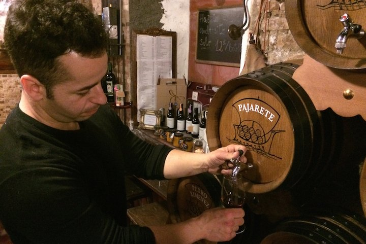 La Odisea is one of the best wine bars in Malaga; look at the barrels!