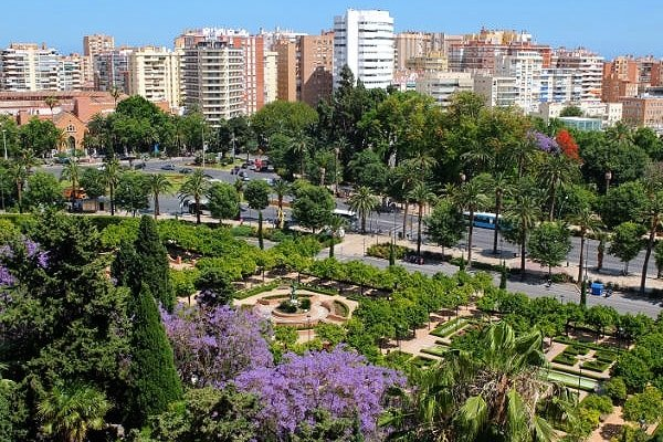 The colorful rose garden and park are two awesome and free things to visit in Malaga