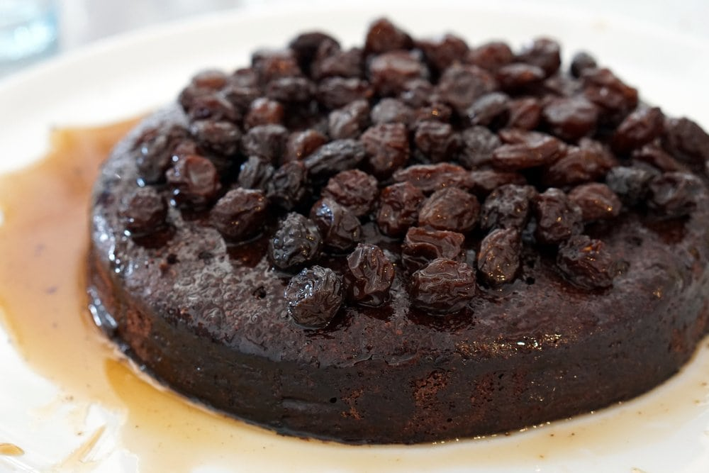 A delicious and moist cake topped with Pedro Ximenez infused raisins!