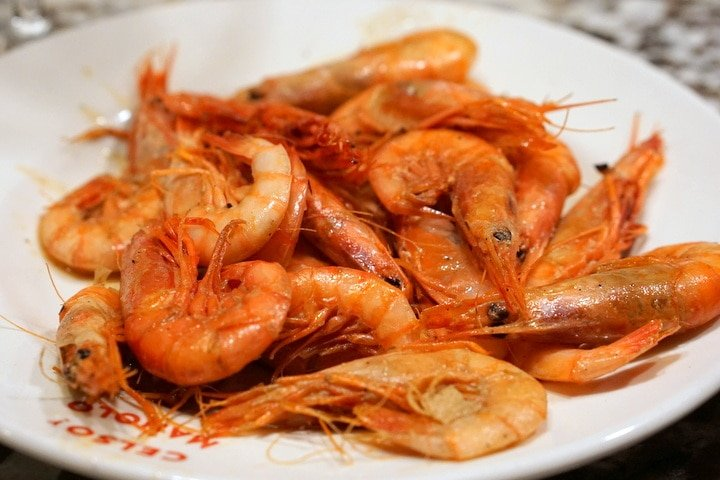 Red prawns at Celso y Manolo