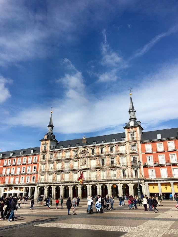 What to do in Madrid: Visit the central square, Plaza Mayor.