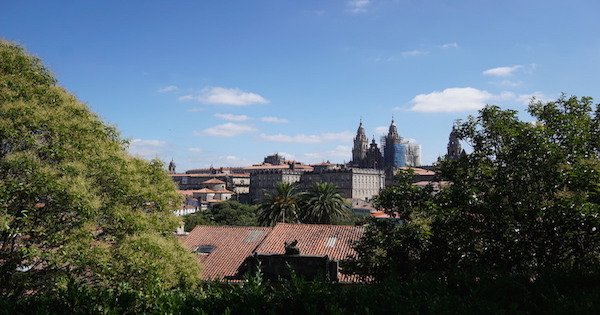 A beautiful view of Santiago's famous Cathedral and the city basking in the sunlight!