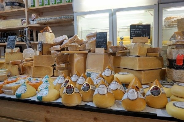 A variety of cheeses at Santiago's amazing farmers' market. The Mercado de Abastos is definitely the best market in Santiago de Compostela.