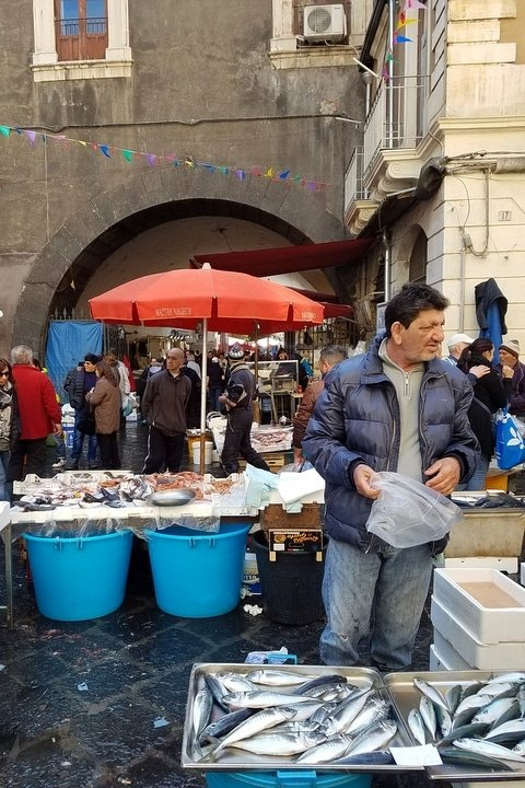 The incredible Catania fish market on the Catania food tour.