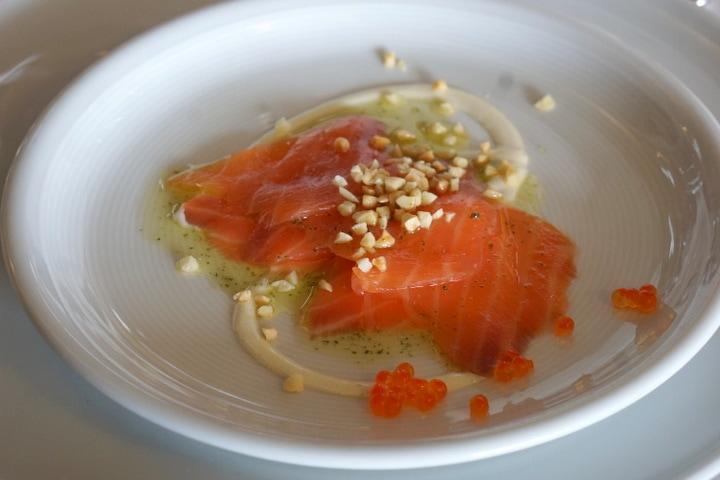 Salmon; menu at Baigorri winery, La rioja wine tours