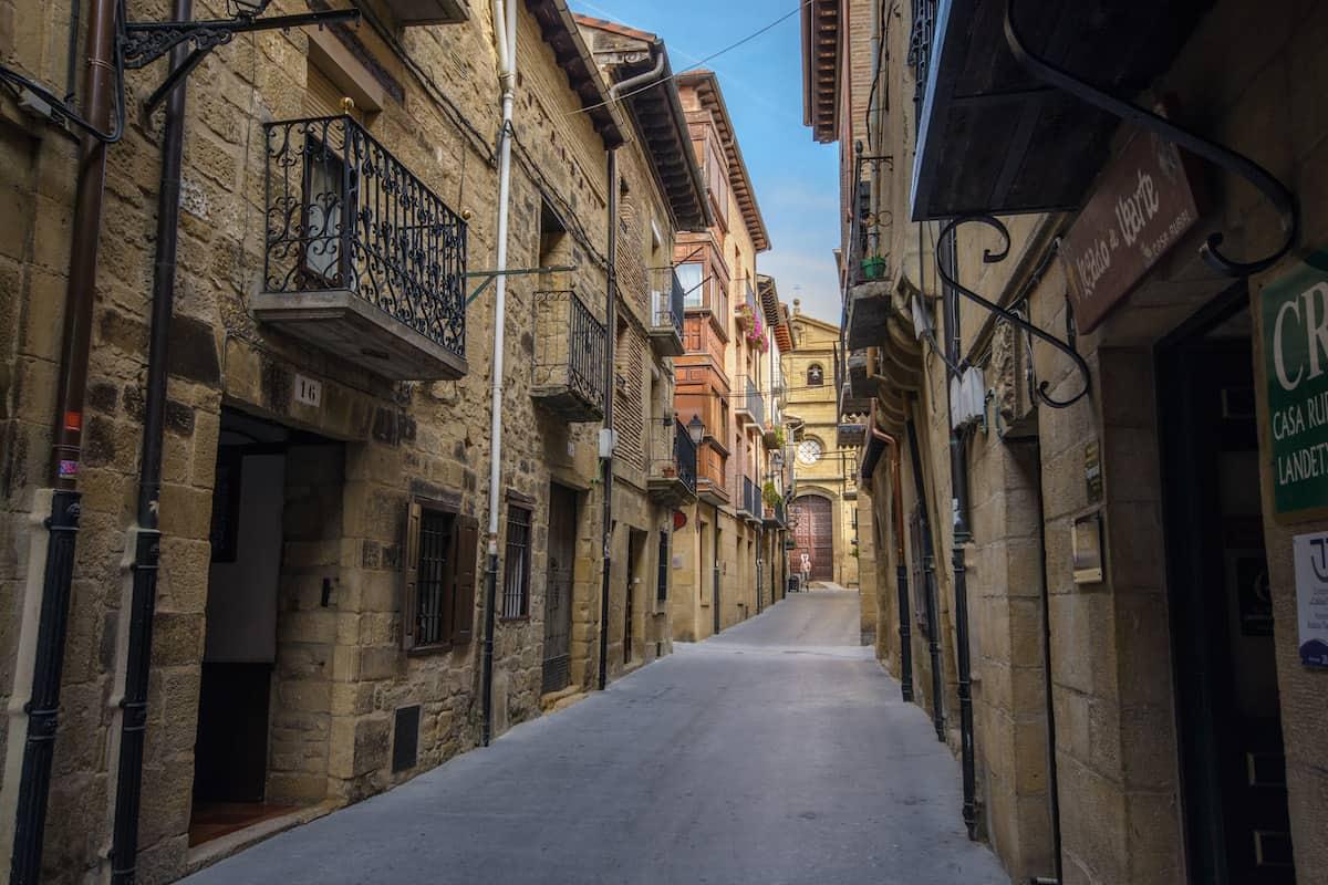 Narrow pedestrian street in a small town in Spain