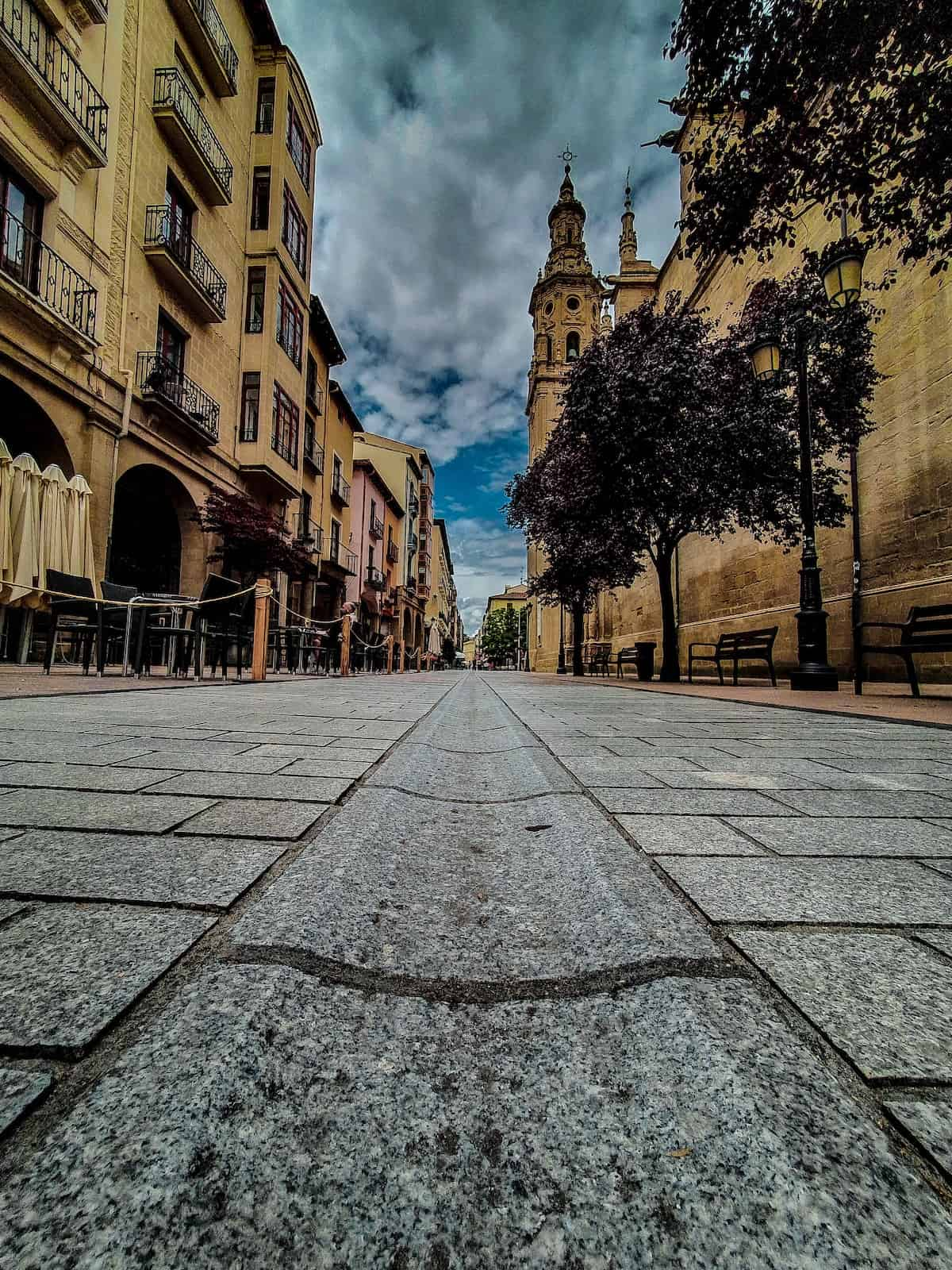 Low-angle view of a pedestrian street in Logroño, Spain