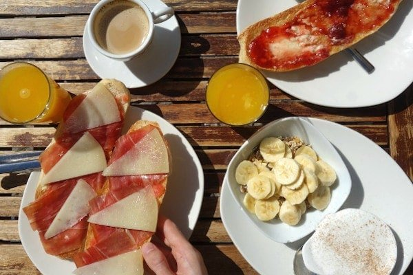 Cafe 4 Gatos has some of the best breakfast in Granada. Just look at the variety!