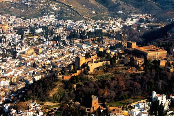Arriving in Granada by air is easy! Look for the Alhambra as you descend into the city.