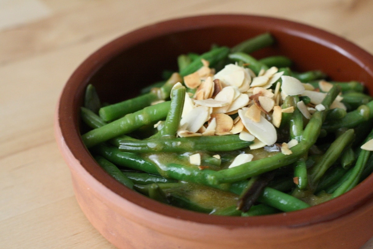 Spanish Style Green Beans with Almonds & Anchovy Dressing
