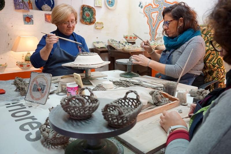 Peeking in at a ceramics workshop in Óbidos; Portuguese ceramics