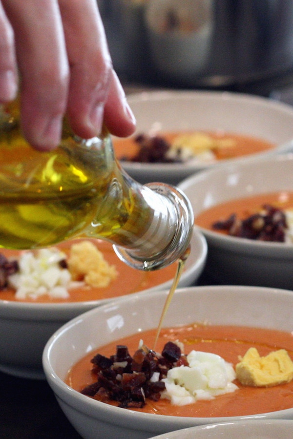 After buying olive oil in Granada, you'll want to use it on everything! We particularly love drizzling some on top of salmorejo soup.