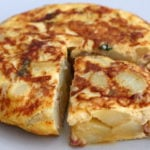 Spanish tortilla with ham and peas recipe