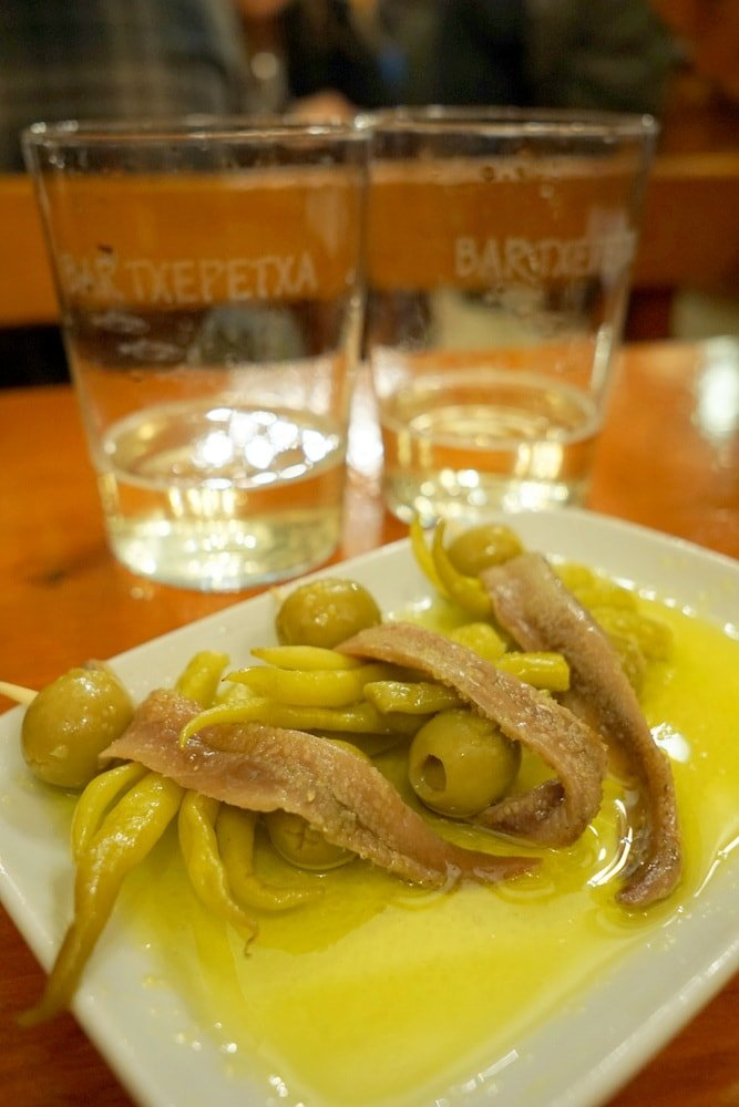 where to eat in San Sebastian: San Sebastian Pintxos Tour 1 anchovies