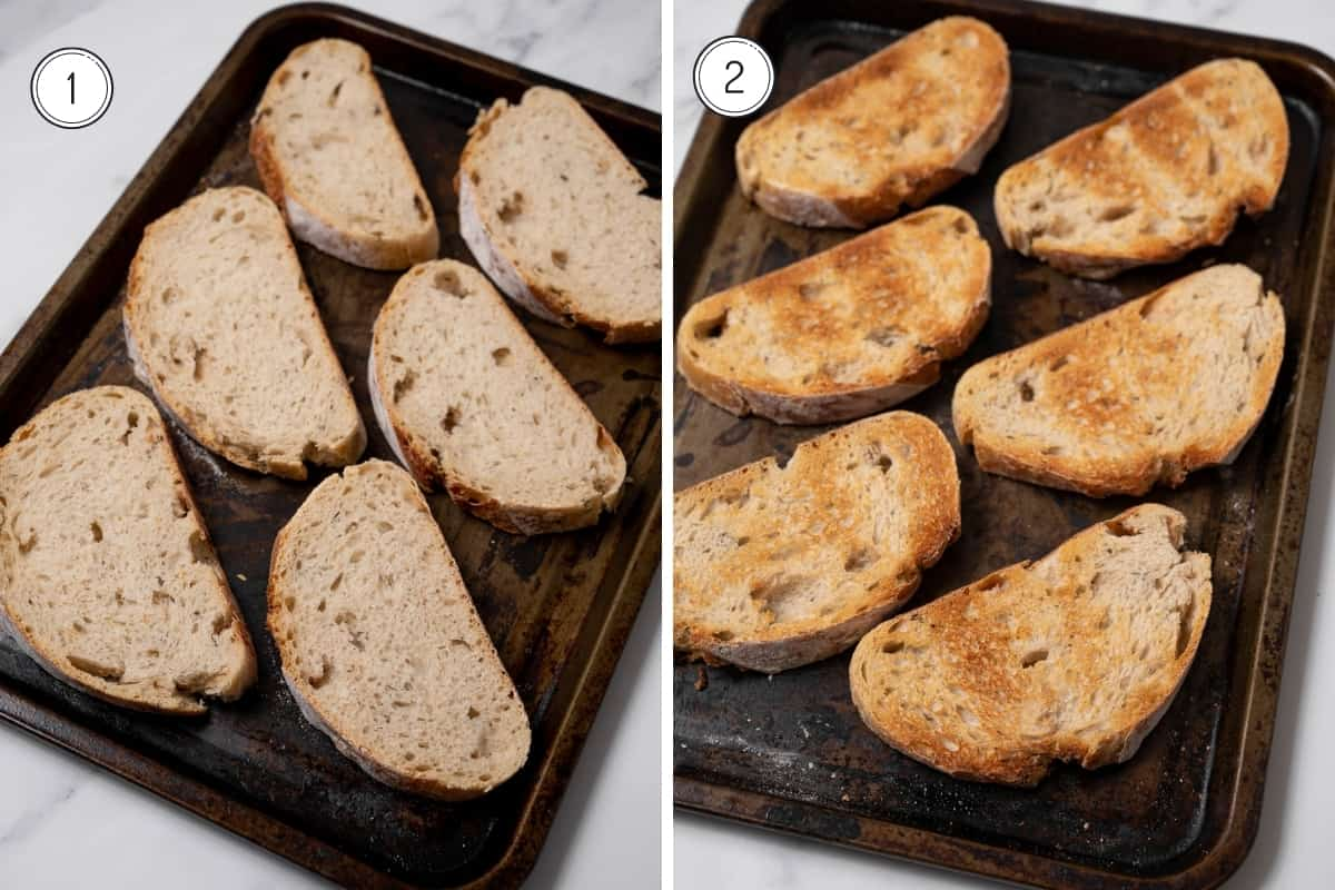 Pan con Tomate Steps 1-2 in a grid - toasting bread slices on a baking tray