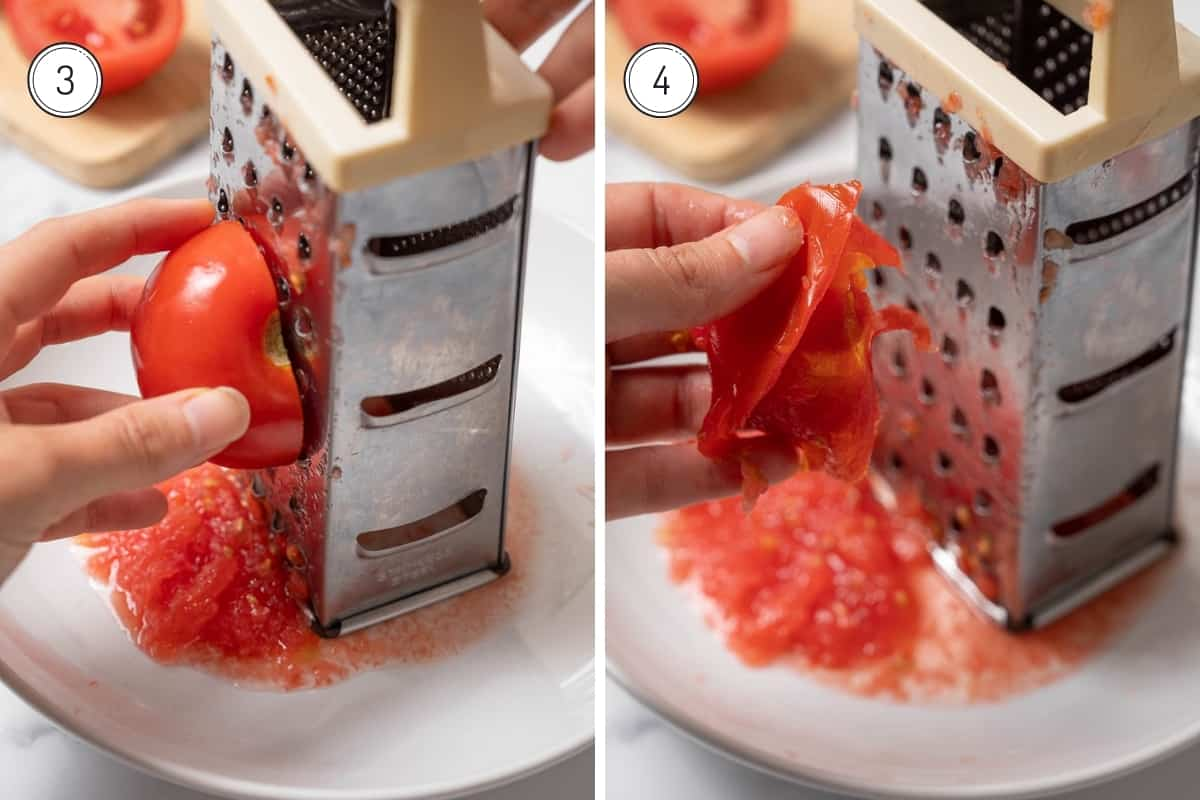 Pan con Tomate Steps 3-4 in a grid - grating the tomatoes into a bowl