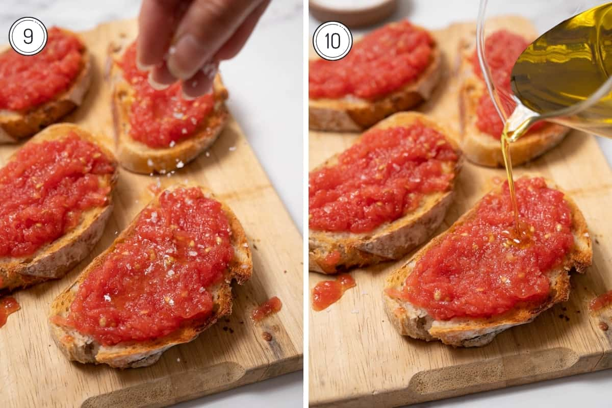 Pan con Tomate Steps 9-10 in a grid. Topping bread with olive oil and sea salt.
