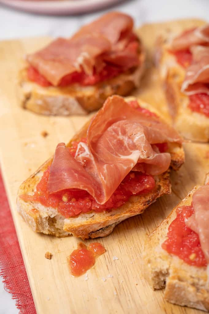 A toast with tomato and serrano ham in Andalusia