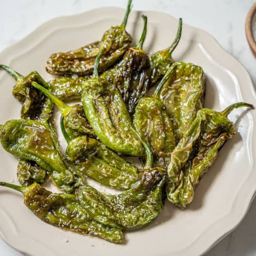 Plate of fried padron peppers with salt on the side.