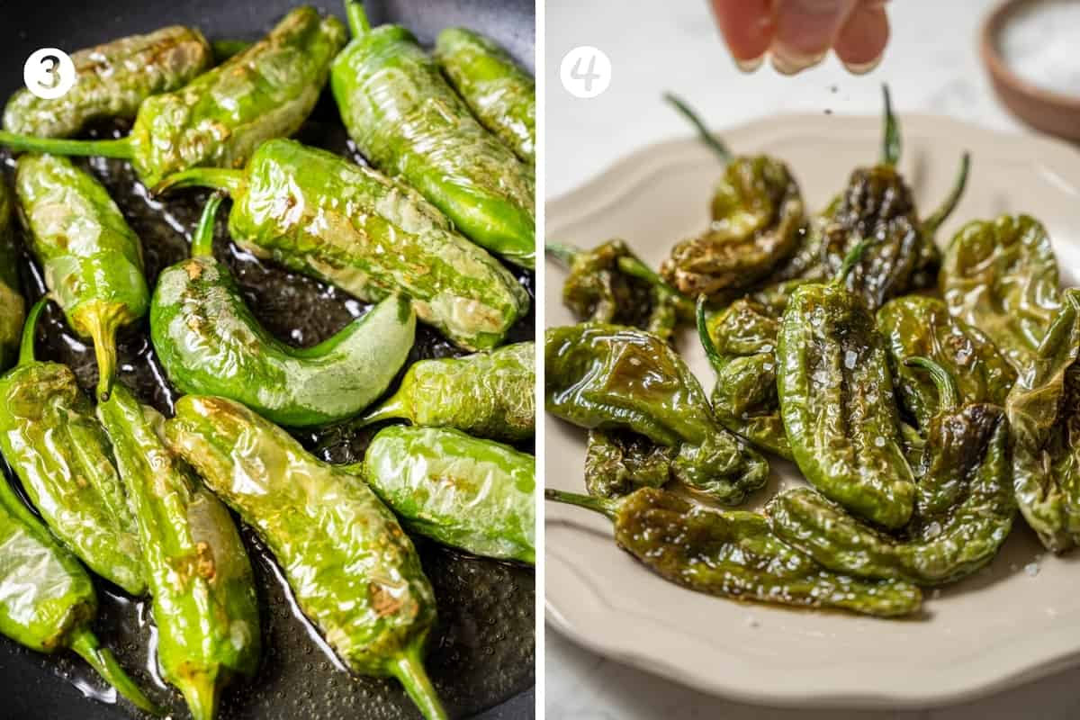 Making padron peppers steps 3-4 in a grid. Frying the peppers in oil. A plate of the fried peppers and a hand sprinkling salt.