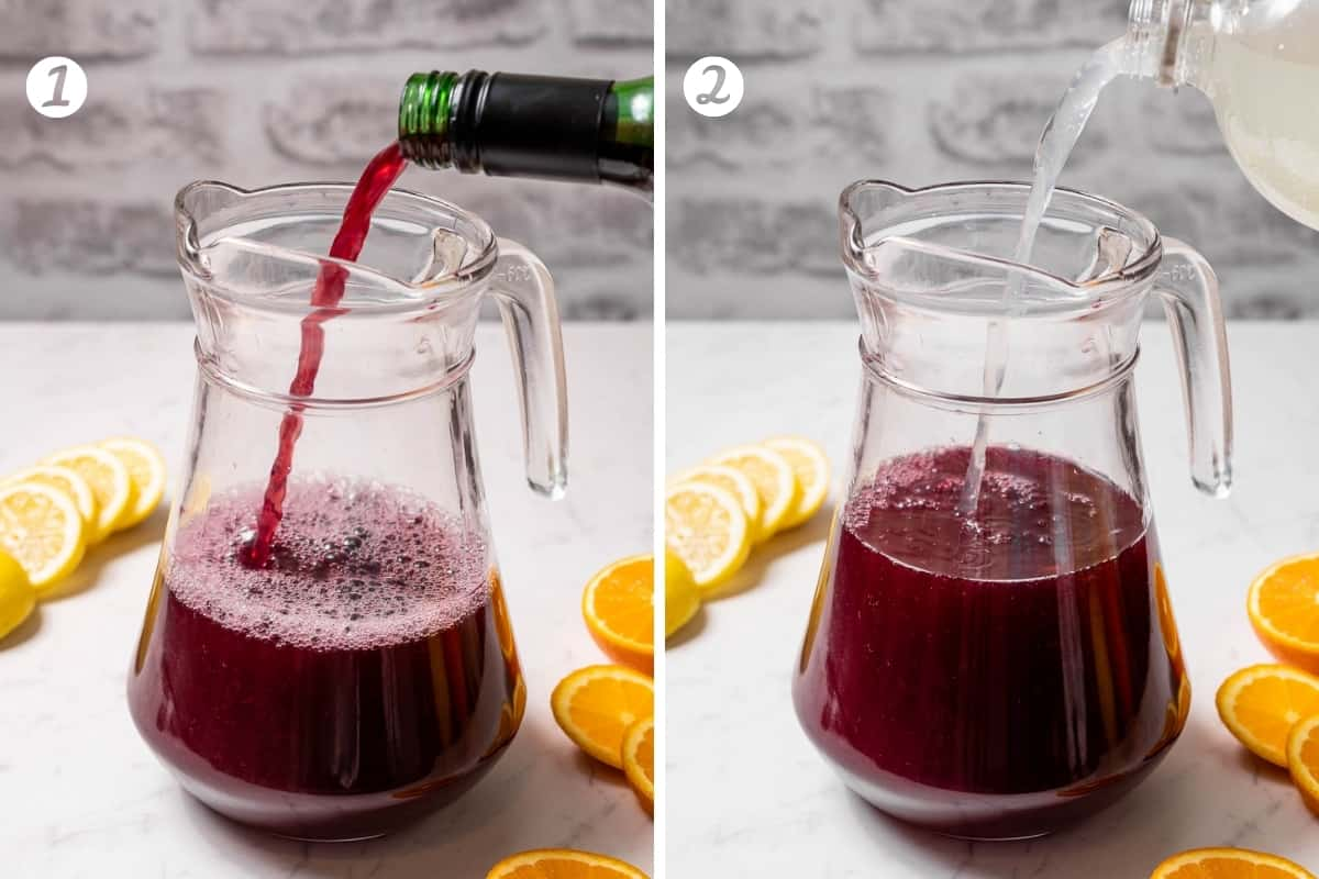 Making tinto de verano steps 1-2 in a grid. Pouring red wine in a pitcher and adding lemon soda.
