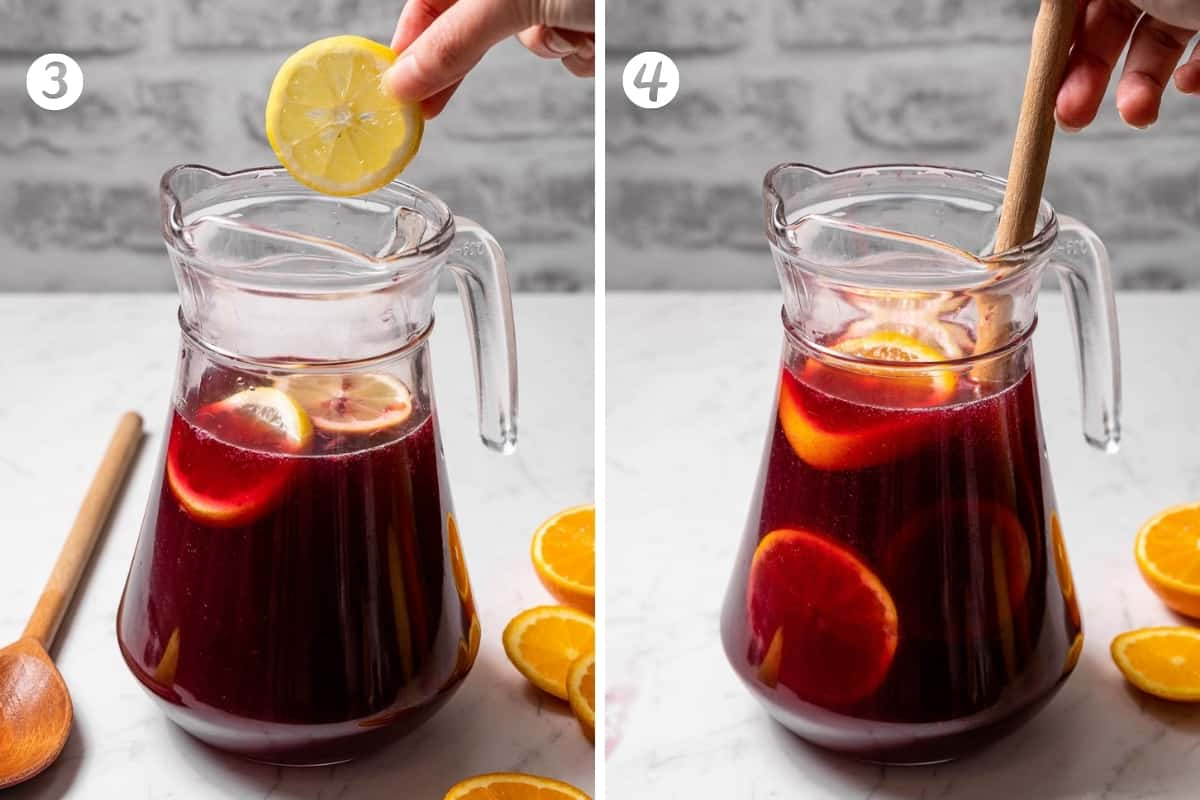 Making tinto de verano - steps 3-4 in a grid. Adding citrus and stirring.
