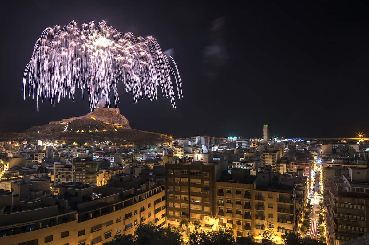 Fireworks at night over Alicante, Spain