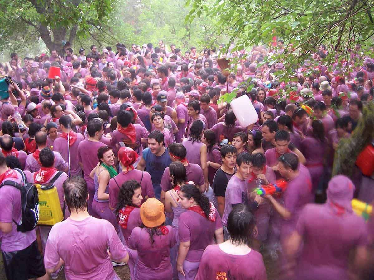 Crowd of people participating in the Haro Wine Battle