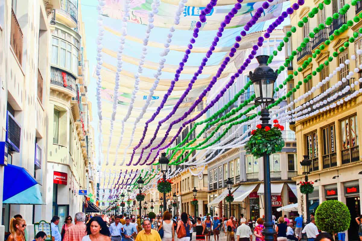 Colorful decorations in the city center of Malaga, Spain for the local fair