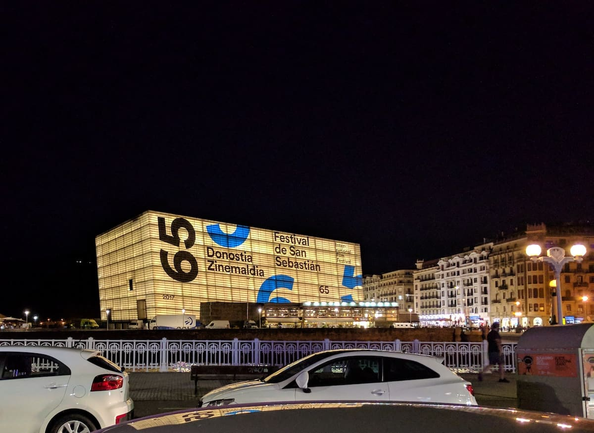 Kursaal conference center in San Sebastian decorated in commemoration of the city's annual film festival