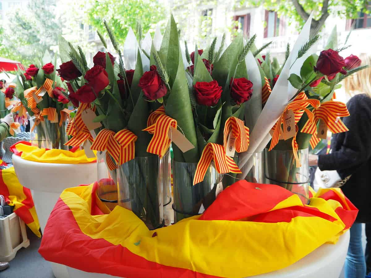 Roses decorated with red and yellow Catalan flag ribbons