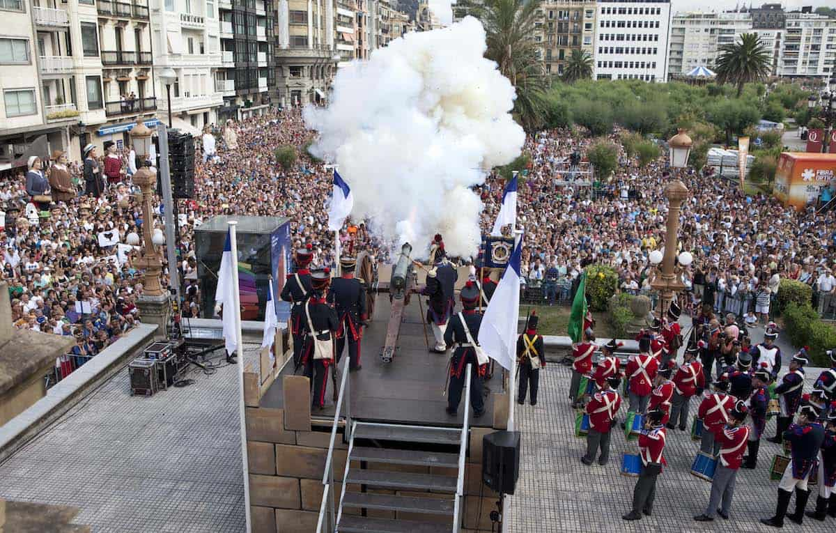 Ceremonial cannon firing at a celebration in the Basque Country