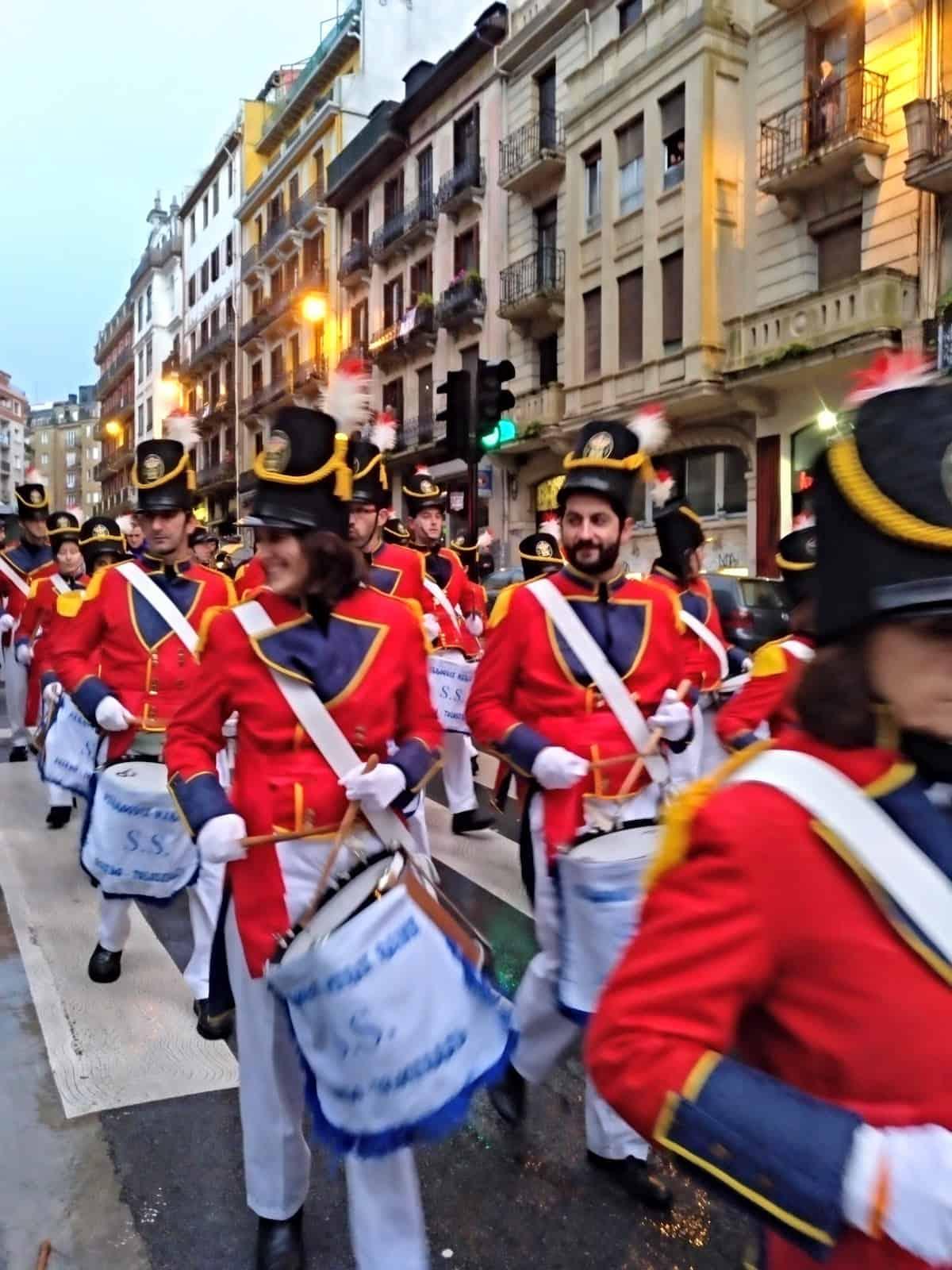 Drum line performing at the Tamborrada festival in San Sebastian